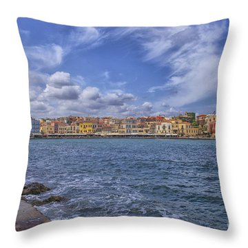 Chania On Crete In Greece Throw Pillow