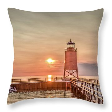 Charelvoix Lighthouse In Charlevoix, Michigan Throw Pillow by Peter Ciro