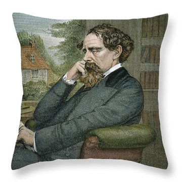 Charles Dickens Throw Pillow by Granger