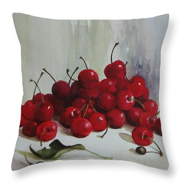 Throw Pillow featuring the painting Cherries by Elena Oleniuc