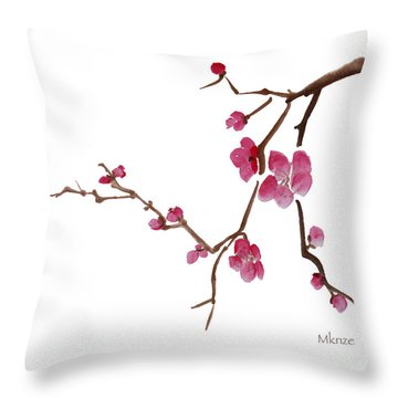 Cherry Blossoms 1d Throw Pillow by McKenzie Leopold