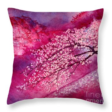 Throw Pillow featuring the painting Cherry Blossoms by Hailey E Herrera