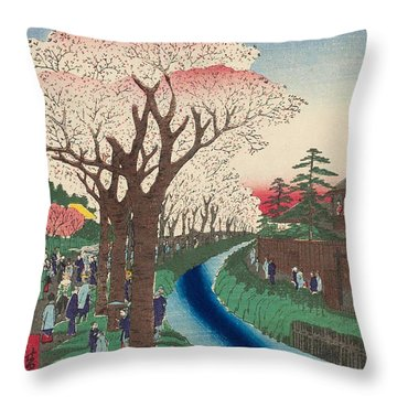 Cherry Blossoms On The Tama River Embankment Throw Pillow
