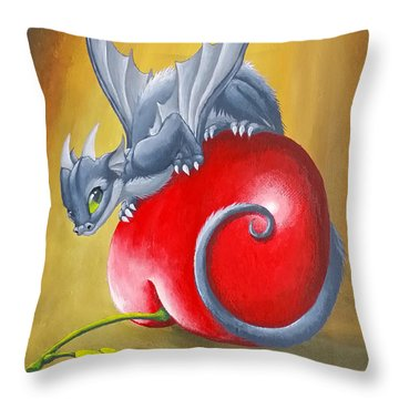 Cherry Dragon Throw Pillow