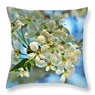 Cherry Tree Flowers Throw Pillow