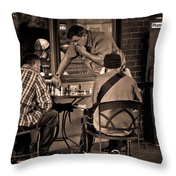 Throw Pillow featuring the photograph Chess Game by Erin Kohlenberg