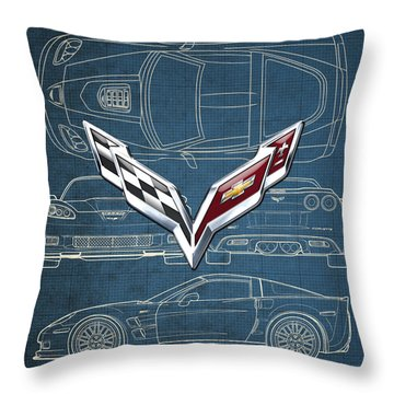Chevrolet Corvette 3 D Badge Over Corvette C 6 Z R 1 Blueprint Throw Pillow by Serge Averbukh