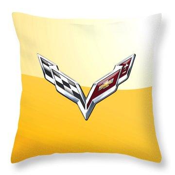Chevrolet Corvette 3d Badge On Yellow Throw Pillow