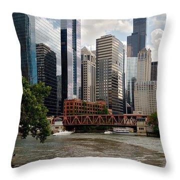 Chicago River Jet Ski Throw Pillow