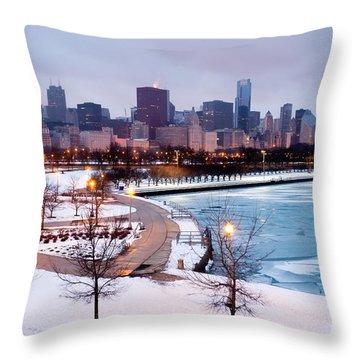 Chicago Skyline In Winter Throw Pillow