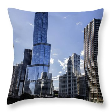 Chicago Skyline Throw Pillow by Tracey Rees