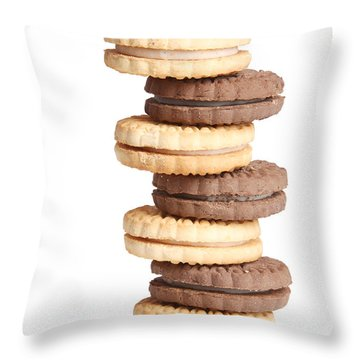 Chocolate And Vanilla Creamed Filled Cookies  Throw Pillow by James BO  Insogna