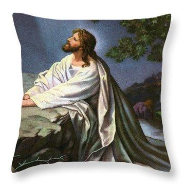 Christ In The Garden Of Gethsemane Throw Pillow