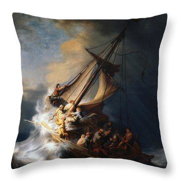 Christ In The Storm On The Lake Of Galilee Throw Pillow