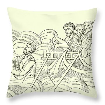 Christ Walking On The Water Throw Pillow
