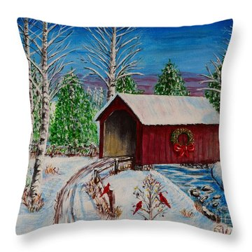 Christmas Bridge Throw Pillow by Melvin Turner