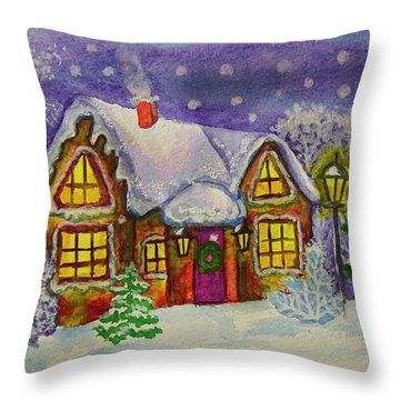 Christmas House, Painting Throw Pillow