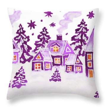 Christmas Picture In Raspberry Pink Colours Throw Pillow