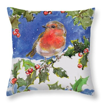Christmas Robin Throw Pillow by Diane Matthes