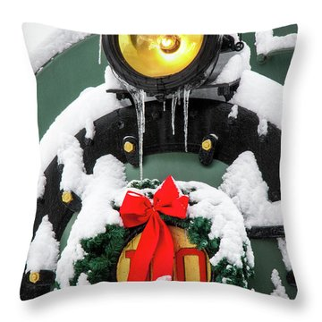 Christmas Train At Pacific Junction Throw Pillow