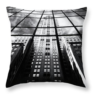 Throw Pillow featuring the photograph Chrysler Reflections by Jessica Jenney