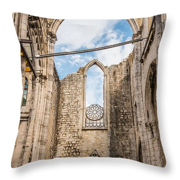 Church At Carmo Convent Throw Pillow