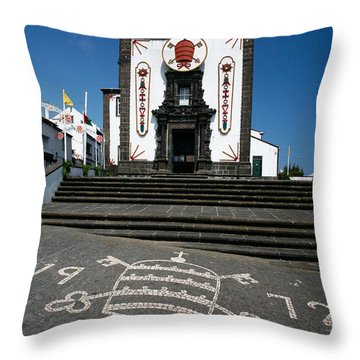 Church In The Azores Throw Pillow by Gaspar Avila