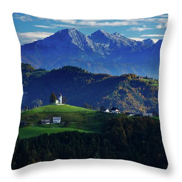 Church Of Saint Thomas In The Skofja Loka Hills Throw Pillow