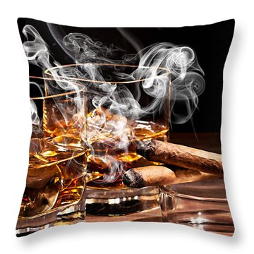 Cigar And Alcohol Collection Throw Pillow