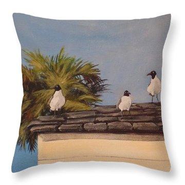 Cinco Seagulls Throw Pillow by Carla Dabney