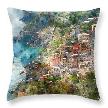 Cinque Terre In Italy Throw Pillow