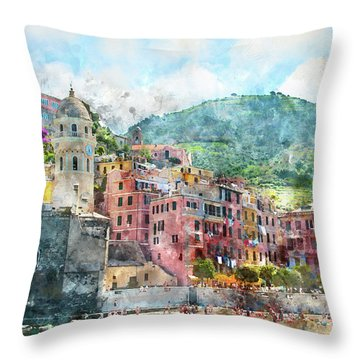 Cinque Terre Italy Throw Pillow