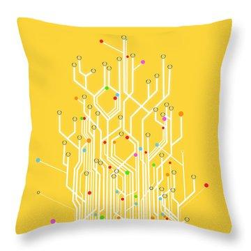 Circuit Board Graphic Throw Pillow by Setsiri Silapasuwanchai