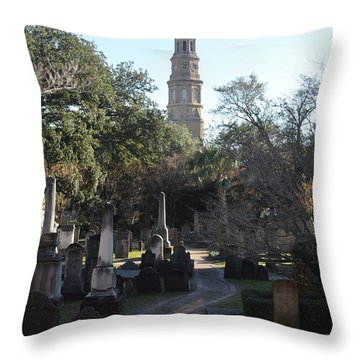 Circular Congregational Graveyard 3 Throw Pillow by Gordon Mooneyhan