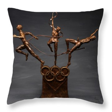 Citius Altius Fortius Olympic Art On Gray Throw Pillow by Adam Long