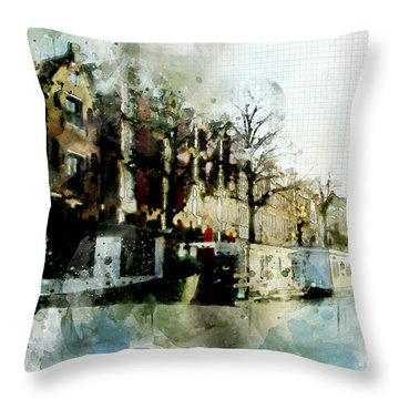 City Life In Watercolor Style Throw Pillow