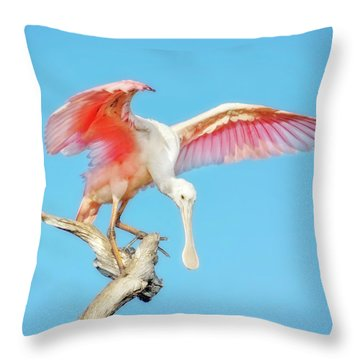 Spoonbill Cleared For Takeoff Throw Pillow