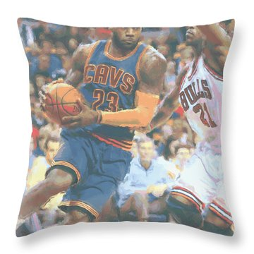 Cleveland Cavaliers Lebron James 2 Throw Pillow by Joe Hamilton