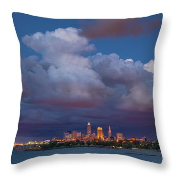 Throw Pillow featuring the photograph Cleveland Skyline  by Emmanuel Panagiotakis