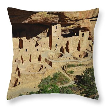 Cliff Palace Mesa Verde Throw Pillow by Debby Pueschel