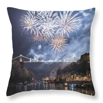 Clifton Suspension Bridge Fireworks Throw Pillow