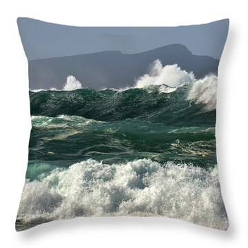 Throw Pillow featuring the photograph Clogher Waves by Barbara Walsh