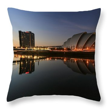 Clydeside Reflections  Throw Pillow by Grant Glendinning