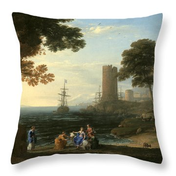 Coast View With The Abduction Of Europa Throw Pillow