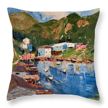Coastal Village, Newfoundland Throw Pillow by David Gilmore