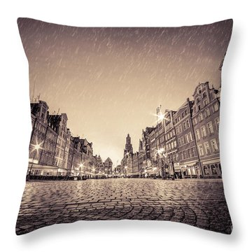 Cobblestone Historic Old Town In Rain At Night Wroclaw Throw Pillow