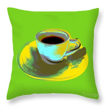 Throw Pillow featuring the digital art Coffee Cup Pop Art by Jean luc Comperat