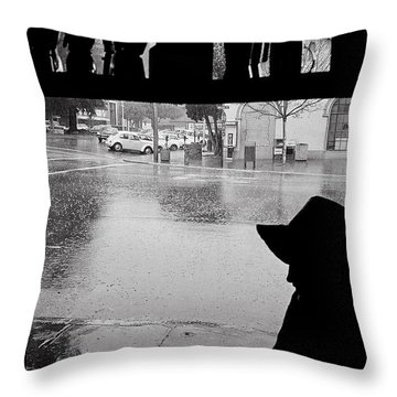 Coffee In The Rain Throw Pillow