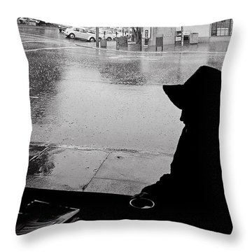 Coffee In The Rain Throw Pillow