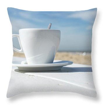 Throw Pillow featuring the photograph Coffee On The Beach by Patricia Hofmeester